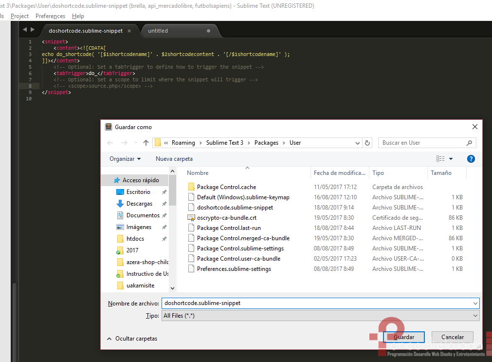 Crear Snippets Sublime Text 3