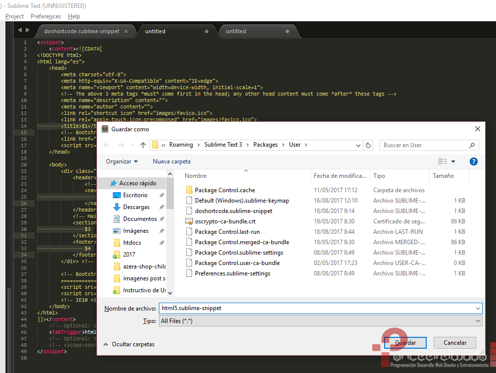 Crear Snippets Sublime Text 4