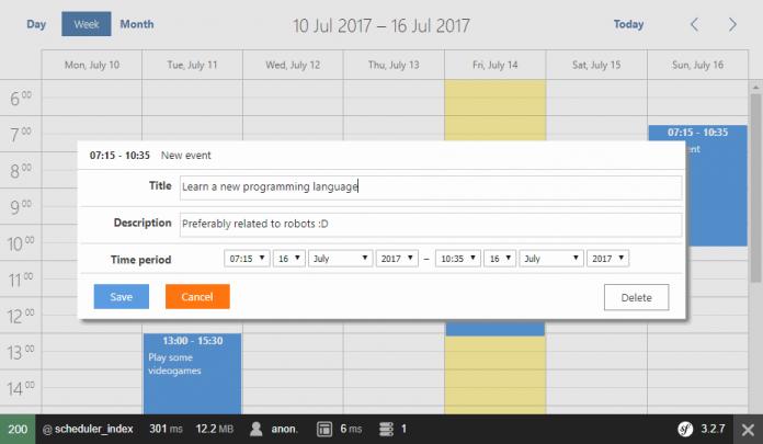 Calendario de eventos en Symfony 3 con dhtmlxScheduler