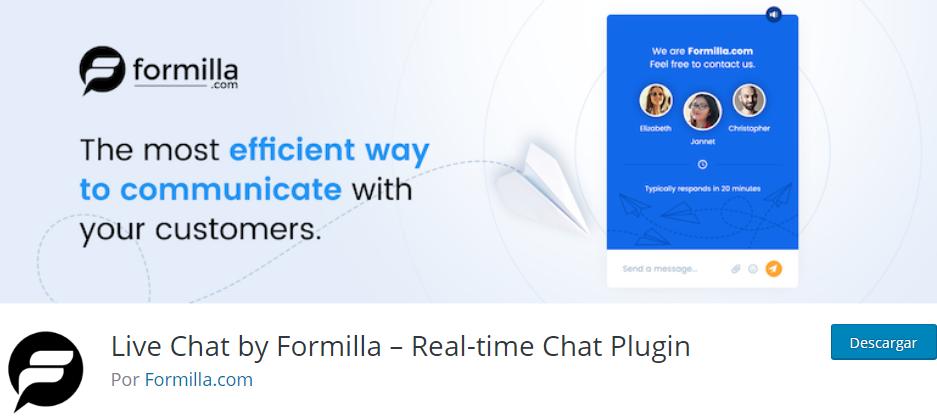 Formilla Chat Top 6 plugins gratuitos live chat wordpress